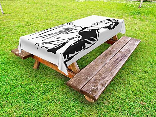 ABAKUHAUS Uitstekende Vrouw Tafelkleed voor Buitengebruik, Dame met Blouse, Decoratief Wasbaar Tafelkleed voor Picknicktafel, 58 x 120 cm, Zwart en wit