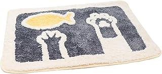 Yanhu ノンスリップシャギーバスルームラグ ソフトマイクロファイバー シェニール織バスマット 吸水性 洗濯機洗い可 グレー 17 x 25インチ