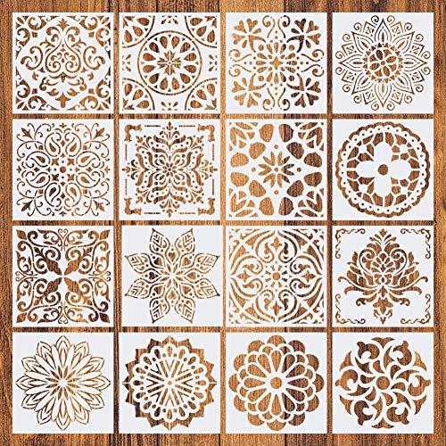 Farmer-W sjabloon voor schilderen, 16 stuks, herbruikbaar, mandala-sjablonen, mandala-sjablonen voor schilderwerk, rotsen, kunst, houten tegels