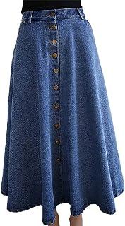 BININBOX Falda Vaquera Vintage para Mujer con Tapeta de Botones Falda Vaquera Falda Acampanada Faldas Plisadas Falda Circu...