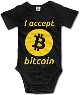 I Accept Bitcoin Baby Romper Cute Short Sleeve Romper Black