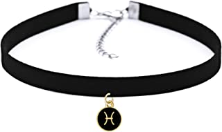 Black Velvet Choker Necklace Gothic with Zodiac Signs Pendant for Girls Women 12 Constellations