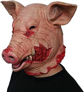 ZJMIYJ Halloween-mask, skräck gris överhuvud djurmask latex gris mask halloween kostym skrämmande såg gris mask full huvud...