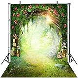 JIANGQIAO Fondo para fotos con diseño de herbáceas y bosques de hadas para niños recién nacidos, setas y elfos (color: P9756, tamaño: vinilo fino, 150 x 220 cm)