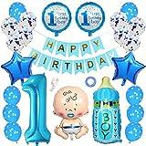 Ceqiny 1 Geburtstag Dekoration Happy Birthday Banner Alles Gute zum Geburtstag Banner Konfetti Helium Latex Stern Folieballon 1 first Birthday Boy Baby Flaschen Luftballons für Kinder Jungen, Blau