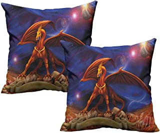 RuppertTextile Breathable Pillowcase Dragon Fantasy Scene with Dragon Knight Against Cosmos Galaxy Planetary Space Background Without core W20 xL20 2 pcs