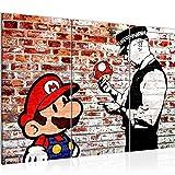 Bilder Mario and Cop Banksy Wandbild 120 x 80 cm Vlies - Leinwand Bild XXL Wandbilder Wohnzimmer...