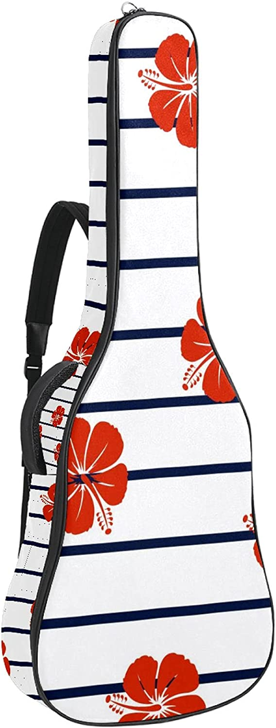 Red Hibiscus Flower Super popular online shopping specialty store Marine Stripes Bag Carry Guitar Case