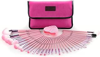 Glow 34 makeup brushes set (34 makeup brush set with storage bag, Pink)
