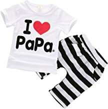 Toddler Baby Girl Boy Clothes I Love Papa Mama Short Shirt Top Stripe Shorts Pants 2Pcs Outfits Set