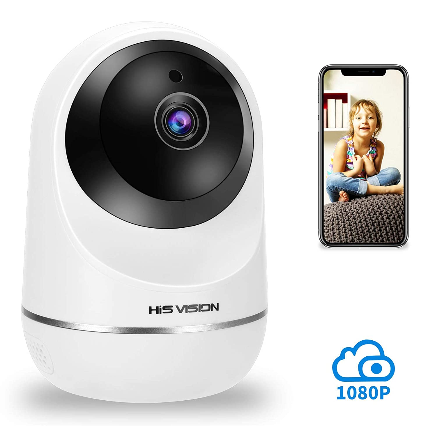 HISVISION Wireless 1080P IP Camera, WiFi Home Security Surveillance HD Camera Activity Detection Alert,Motion Tracking Baby/Pet Monitor Nanny Cam, Night Vision/Two-Way Audio with SD Card Slot & Cloud