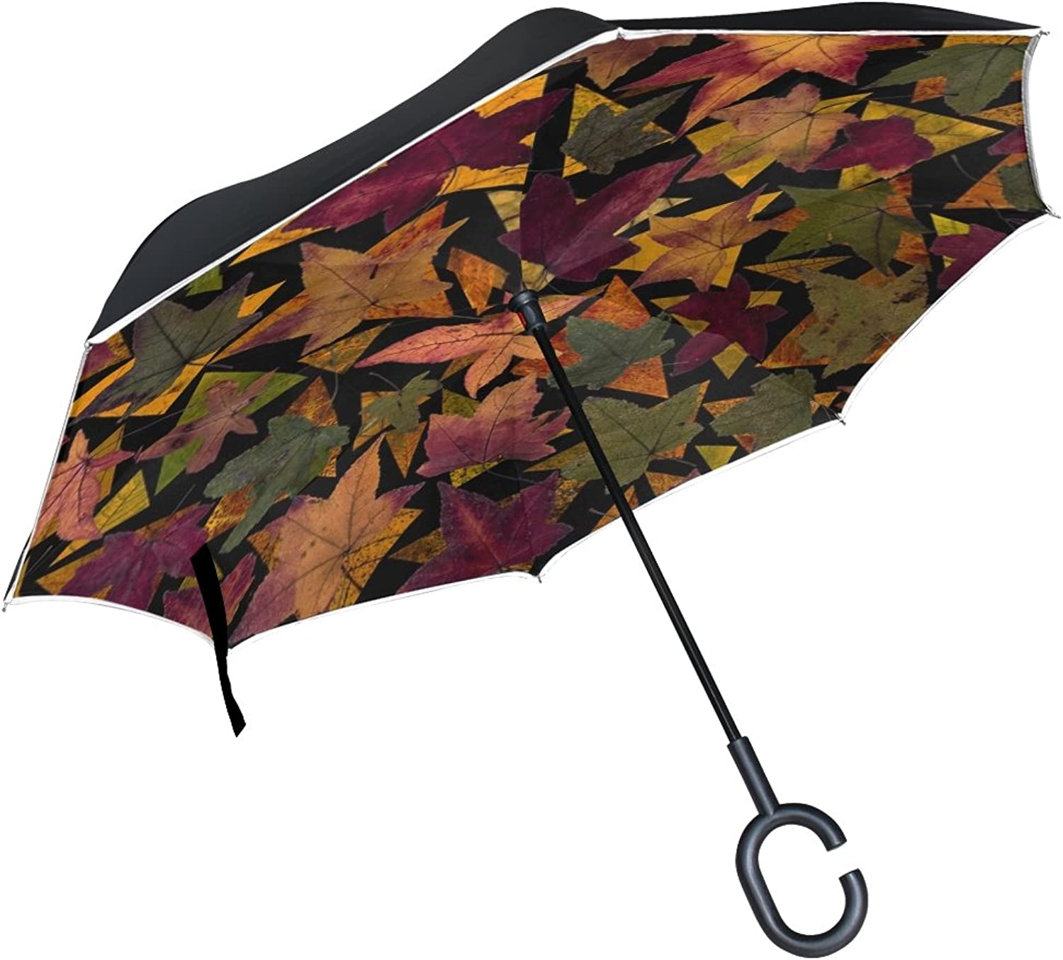 Double Layer Ingreened Leaves Tree Leaves Autumn Fall Leaves Composition Umbrellas Reverse Folding Umbrella Windproof Uv Predection Big Straight Umbrella for Car Rain Outdoor with CShaped Handle