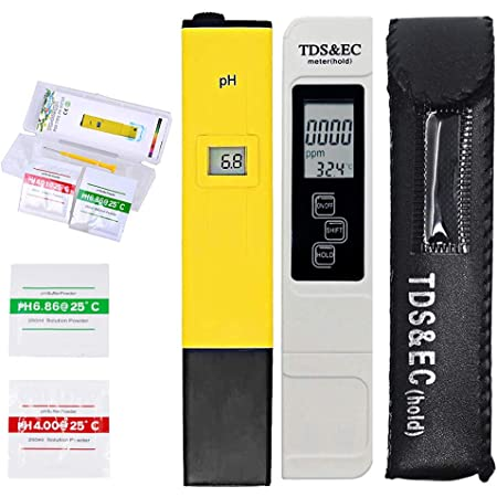 MODENNA Generic Modenna pH and TDS & EC Meter Combo, 0.05ph High Accuracy Pen Type pH Meter +/- 2% Readout Accuracy 3-in-1 TDS EC Temperature Meter (Pack of 2- pH Meter + TDS&EC Meter)