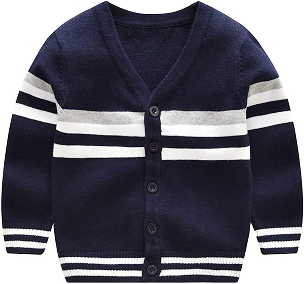 ALUNNI Toddler Baby Boy Button Up Cardigan Sweaters V-Neck Knit Sweater Striped Pullover Sweatshirt Fall Winter Outerwear