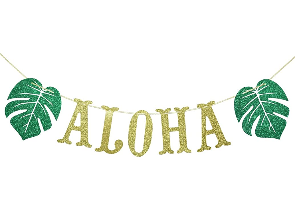 Hawaiian Aloha Banner Decorations with Palm Leaves Garland for Hawaiian Tropical Luau Beach Summer Party Supplies Decor Favors Bunting Photo Booth Props Sign (Gold & Green Glittery)