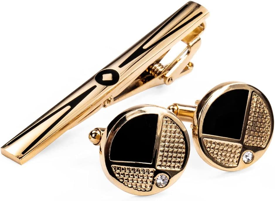 ZZABC Alloy Gold Tie Clip Tie bar Cufflinks Set Fashion Design Suit Accessories Male Gifts (Color : A, Size : One Size)