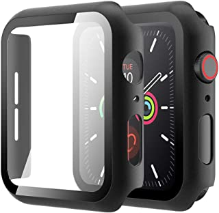Simpeak Case with Glass Screen Protector Compatible with Apple Watch Series 6 Series 5 Series 4 44mm, Full Coverage Slim H...