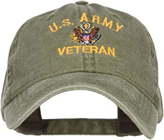 e4Hats.com US Army Veteran Military Embroidered Washed Cap