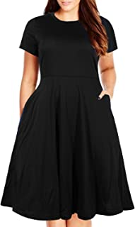 fc437e52ae7 Nemidor Women s Round Neck Summer Casual Plus Size Fit and Flare Midi Dress  with Pocket