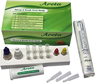 Areta CLIA Waived Strep A Swab Test Kit, 25 Tests in Bottle, Rapid Strep Throat or Pharyngitis Test ARST-100