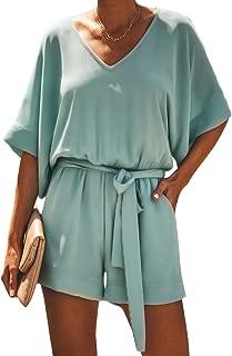ENLACHIC Womens Summer Casual V Neck Short Sleeve Loose Romper Jumpsuit Playsuit