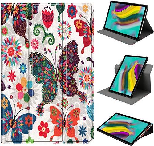 HoYiXi Hülle für Samsung Galaxy Tab A7 10.4-inch 360 Grad drehbar Tri-Fold Schutzhülle Ständer Cover für Samsung Galaxy Tab A7 10.4 2020 T500/T505 - bunt Schmetterling