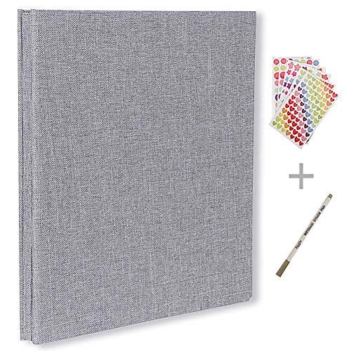 Selbstklebendes Fotoalbum, magnetisches Scrapbook-Album, 40 Seiten, Hardcover, 27,9 x 26,9 cm, mit Fotoalbum, Aufbewahrungsbox, DIY-Zubehör-Kit grau