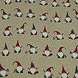 Dekostoff Weihnachtswichtel im Schnee, Leinenoptik, beige