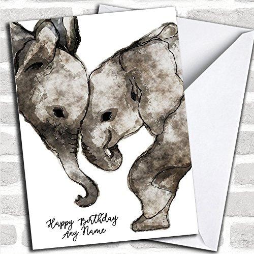 Aquarel Olifanten Eenvoudige aangepaste verjaardagskaart