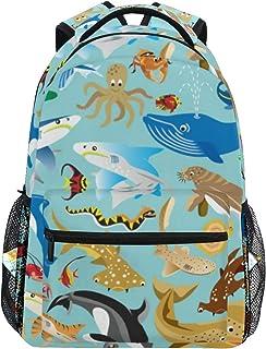 mochila escolar bolsa de viaje para portátil animales acuáticos peces tiburón delfín océano mar