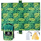 UrbanEco Outdoors Beach Blanket (Green Leaves)