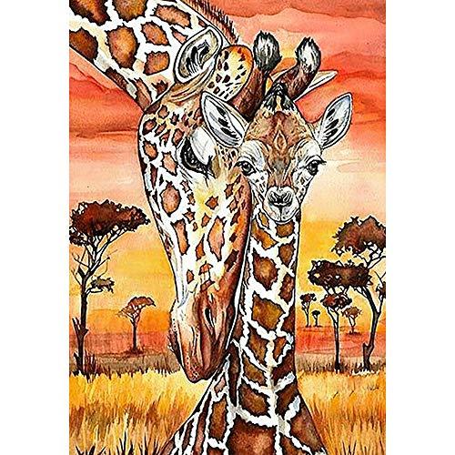 MOTOCO DIY 5D Stickerei Gemälde Strass eingefügt DIY Diamant Malerei Kreuzstich(B: Giraffe)