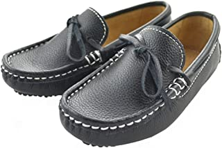 IDIFU Boys Girls Unisex Breathable Leather Bow Slip On Loafers Flat Oxfords Shoes