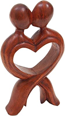 Valentines Day Or 5th Wedding Anniversary The Kiss Wood Figurine