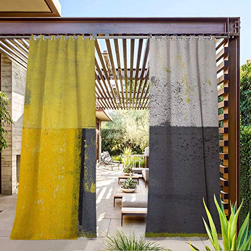 FOEYESEE Sheer Patio Curtains Outdoor Street Art Modern Grunge Abstract Design Squares White Charcoal Grey and Light Yellow for Porch/Doorway 108x96 Inch