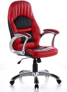 hjh OFFICE 621300 RACER 200 Silla gaming y oficina, piel sintética rojo/negro