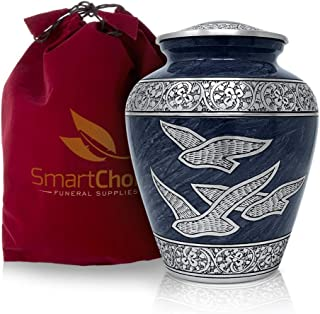 SmartChoice Cremation Urn for Human Ashes - Beautiful Wings of Freedom Funeral Urn Adult Urn for Ashes (Blue)
