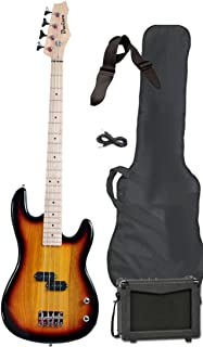 Davison Guitars Full Size Electric Bass Guitar Starter Beginner Pack with Amp Case Strap Package Vintage Sunburst Right Handed
