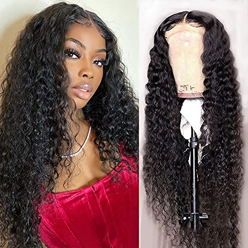 Water Wave 4x4 Lace Front Wigs Human Hair Pre Plucked, 150% Density Brazilian Virgin Wet and Wavy Human Hair Wigs for Black Women Curly Human Hair Wig with Baby Hair Natural Color 24 Inch