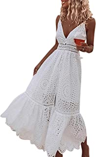 DEEBAI Women's Summer Spaghetti Strap Deep V Neck Backless Button Down Maxi Dress