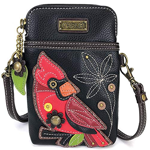 Chala Crossbody Cell Phone Purse-Women PU Leather Multicolor Handbag with Adjustable Strap - Cardinal Black
