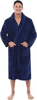 Alexander Del Rossa Mens Solid Color Fleece Robe, Shawl Collar Bathrobe