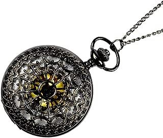 ETbotu Vintage Black Spider Web Pocket Watch with Chain Necklace Pendant Antique Necklace Watch