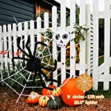 FURANDE Halloween Spider Decorations, Halloween Scary Spider Web Set, Scary Hairy Spider, Halloween Black Spider Web, Cobwebs Props, Adjustable for Indoor, Outdoor and Yard Creepy Decor
