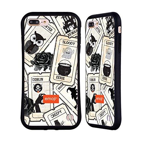 Head Case Designs Oficial Emoji Rosa Negra Patrones de Halloween Carcasa híbrida Compatible con Apple iPhone 7 Plus/iPhone 8 Plus