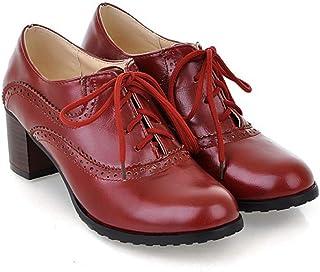 レースアップシューズ レディース オックスフォード おじ靴 靴 マニッシュシューズ ウイングチップ 小さいサイズ 大きいサイズ オックスフォードシューズ 太ヒール ハイヒール ショートブーツ かっこいい 秋ブーツ 黒 赤