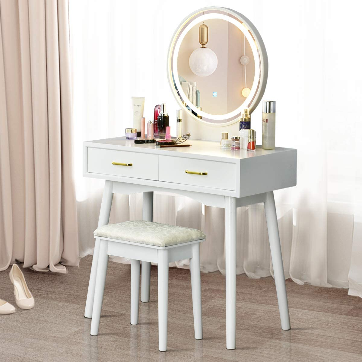 3 Color Lighting Modes White CHARMAID Vanity Set with Touch Screen Dimming Lighted Mirror Modern Bedroom Makeup Dressing Table with 2 Sliding Drawers and Cushioned Stool for Girls Women