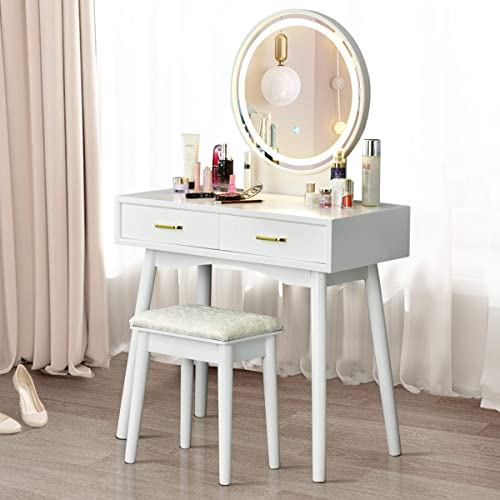 wholesale CHARMAID Vanity Set with Touch Screen Dimming Lighted Mirror, 3 Color Lighting outlet online sale Modes, Modern Bedroom Makeup Dressing Table with 2 Sliding Drawers and Cushioned Stool for online Girls Women (White) outlet online sale