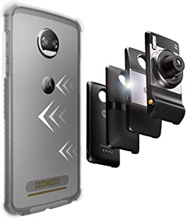 CaseWe - Motorola Moto Z2 Force Protective Bumper Case Cover/Compatible With Moto Mods - Clear & Matte Gray