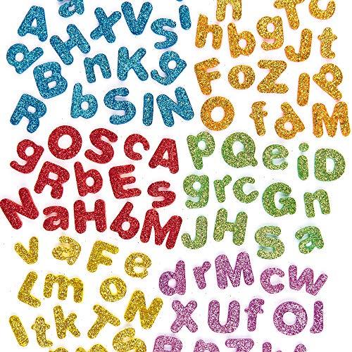 Baker Ross Pegatinas Autoadhesivas de Letras del Alfabeto de Espuma con Purpurina (Paquete de 850) Para decorar tarjetas, collages y manualidades infantiles